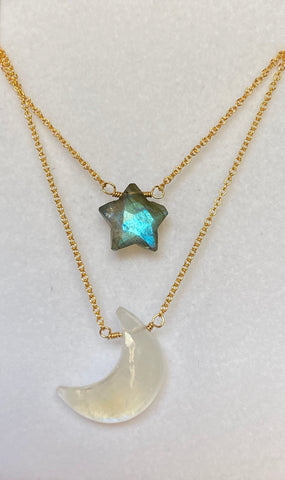 "Moonstone ""Moon"" & Labradorite "" Star"" Necklaces"