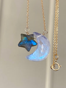 New Moon & Star Necklace