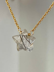 Rutilated Quartz Star Necklace