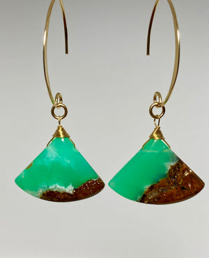 Boulder Chrysoprase Fan Earrings