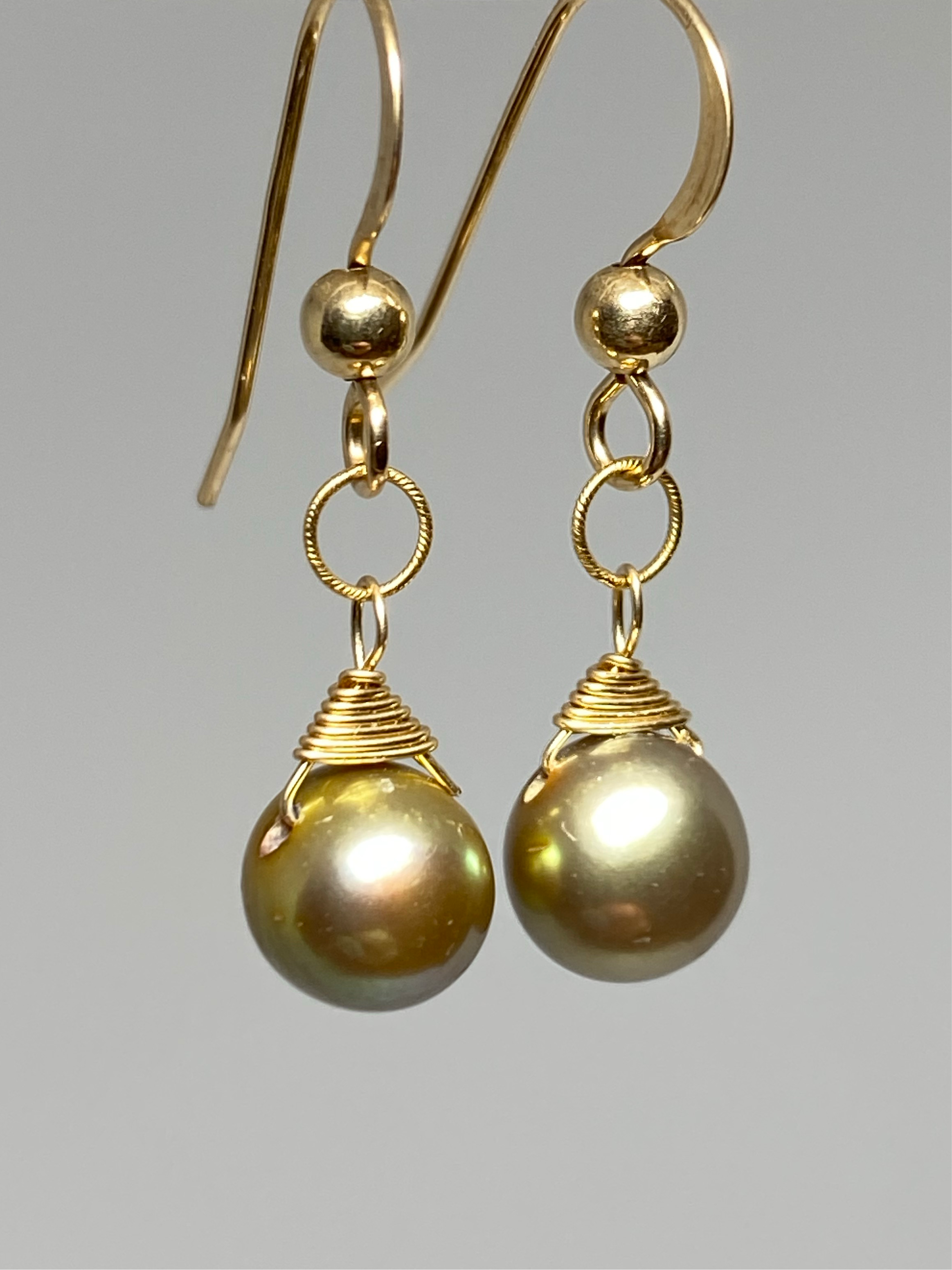 Golden Freshwater Pearl Earrings