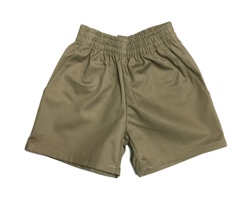 Khaki Elastic Pull On Shorts
