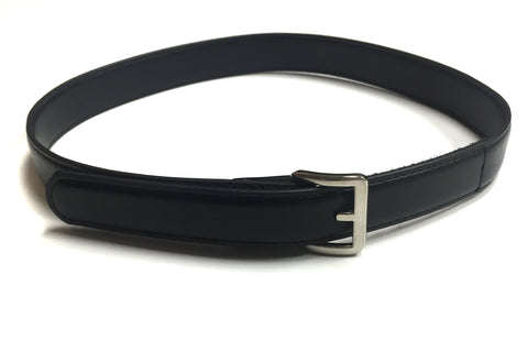 Boys Black Leather Velcro Belt