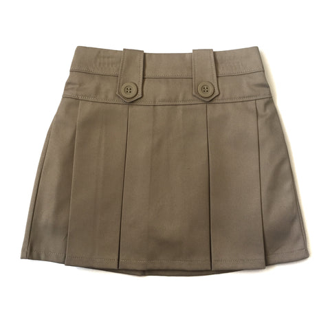 Girls Khaki Button Pleated Skort