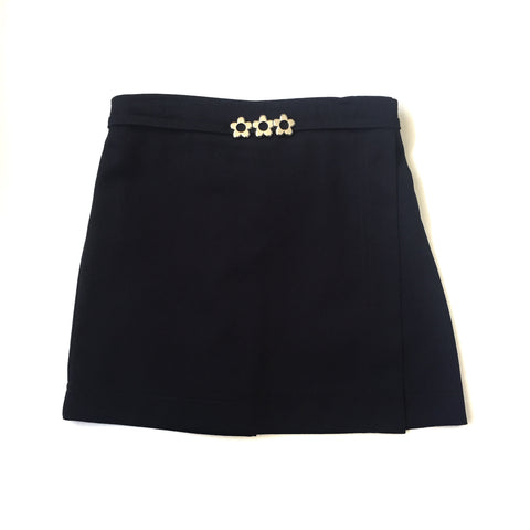 Girls Navy Flower Pull On Skort