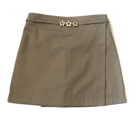 Girls Khaki Flower Pull On Skort