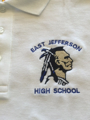 East Jefferson High School White Polo