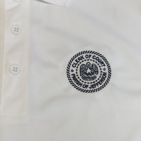 JPCC White Male Dry Fit Polo
