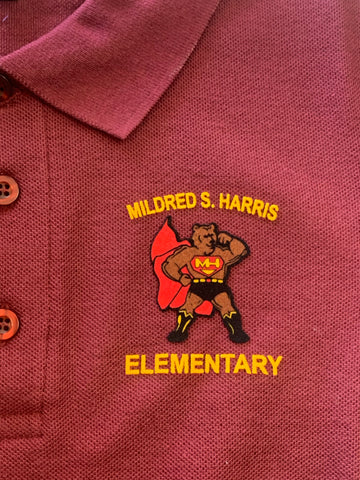 Mildred S. Harris Elementary Maroon Polo