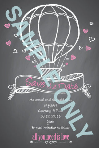 Balloon of love chalkboard Save the Date