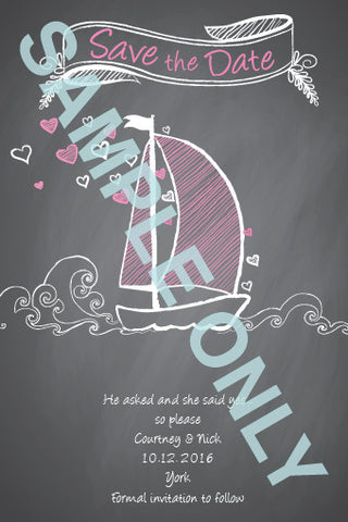 Boat of love chalkboard Save the Date