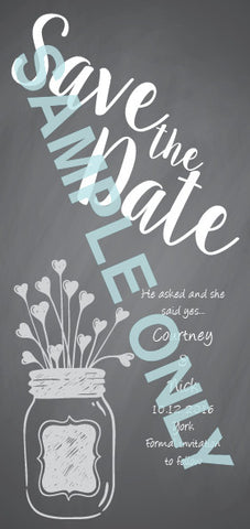Love in a Jar chalkboard Save the Date