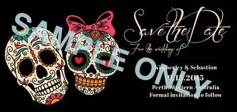 Day of the Dead sugar skulls Save the Date