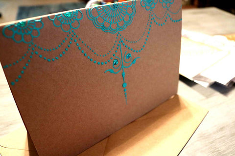 RETRO Teal Greeting Card Henna Design