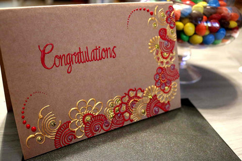 Vintage Congratulations Greeting Card Henna Design