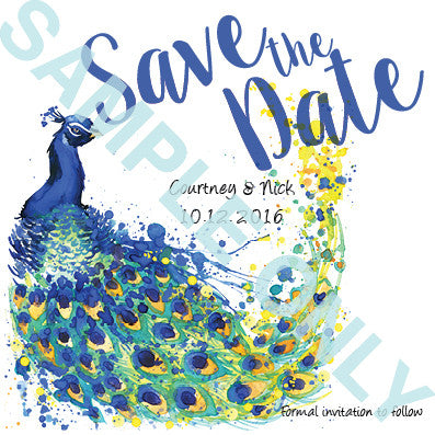 Elegant Peacock save the date
