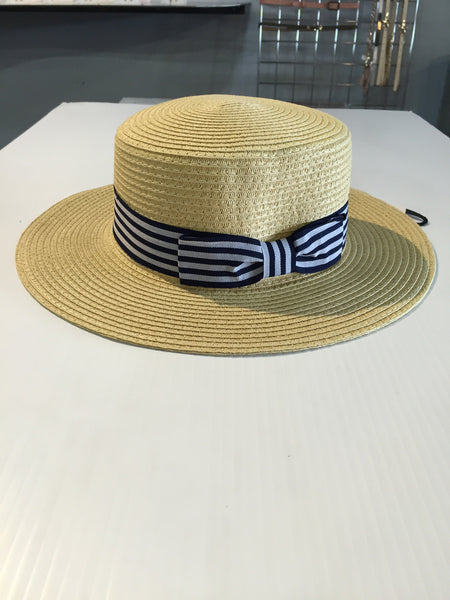 Panama Sun Hat with Striped Ribbon