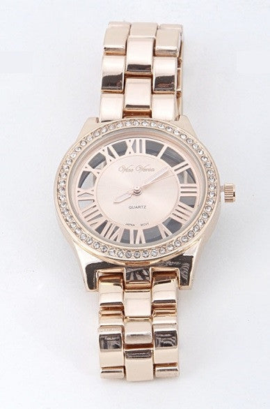 Rose Gold & Rhinestone Watch