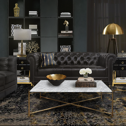 Living Room Design in Black & Gold - Modern Art Deco Series
