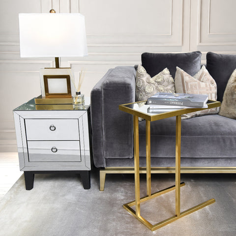 Butler C-Shaped End Table, Gold