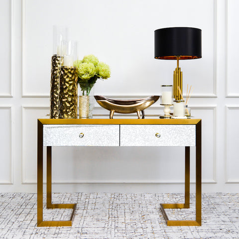 Anatolius Mirrored Console Table, Vintage Gold