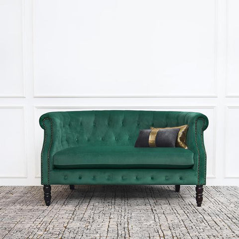 Fayette Chesterfield 2-Seater Loveseat Sofa, Emerald Green Velvet
