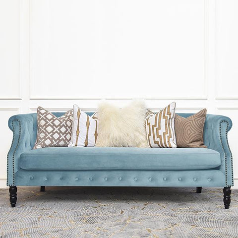 Fayette Chesterfield 3-Seater Sofa, Pastel Blue Velvet