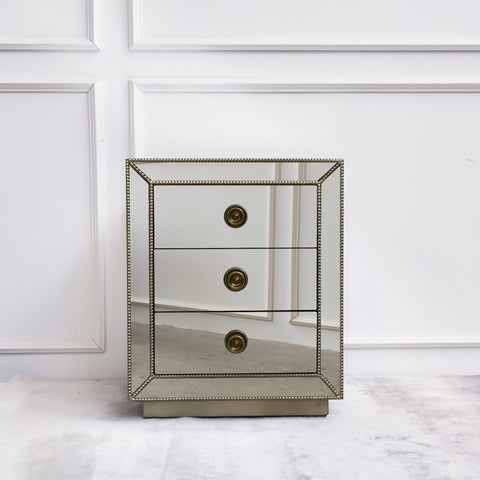 Hermes Mirrored 3-drawer Side Table / Nightstand