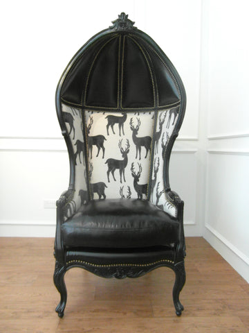 Balloon Chair.  Deer Nolie. Victorian Armchair.  Period Furniture. Italian Leather.  Belgium Fabric. Top Grain.
