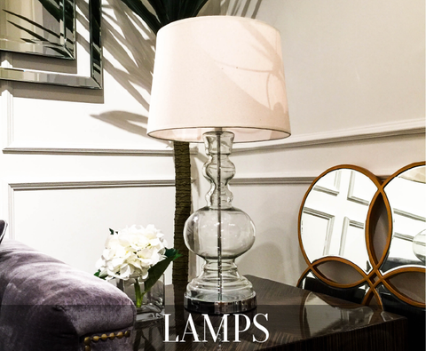 Lamps for classic modern home décor and in vintage styles for side tables, nightstands, dressers can be purchased online and in showroom.