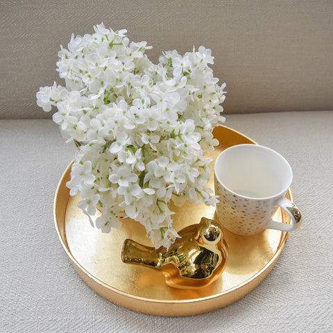 Laque Round Gold Tray
