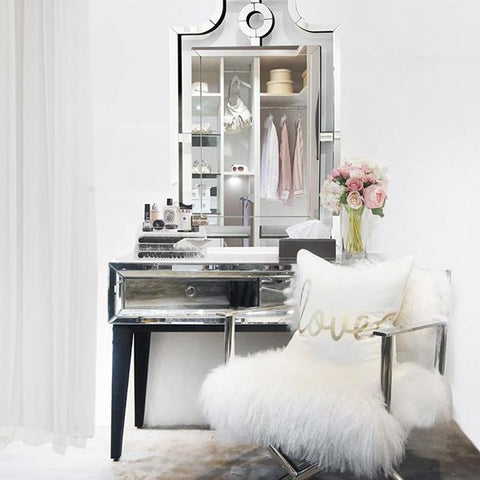 Modern Parisian Mirrored Console Table, 2-Drawer