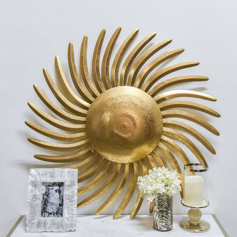 Soleil Gold Sunburst Wall Sculpture Decor
