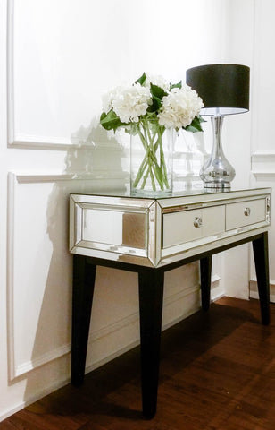 Modern Parisian Mirrored Console Table for Designer Living Room and Foyer Home Decor