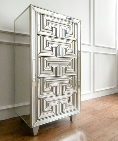 Greek Symmetry Tall Mirrored Cabinet