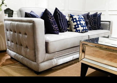 This beautiful tufted chesterfield silver sofa is available at FinnAvenue.com, and is displayed now at its Singapore store.