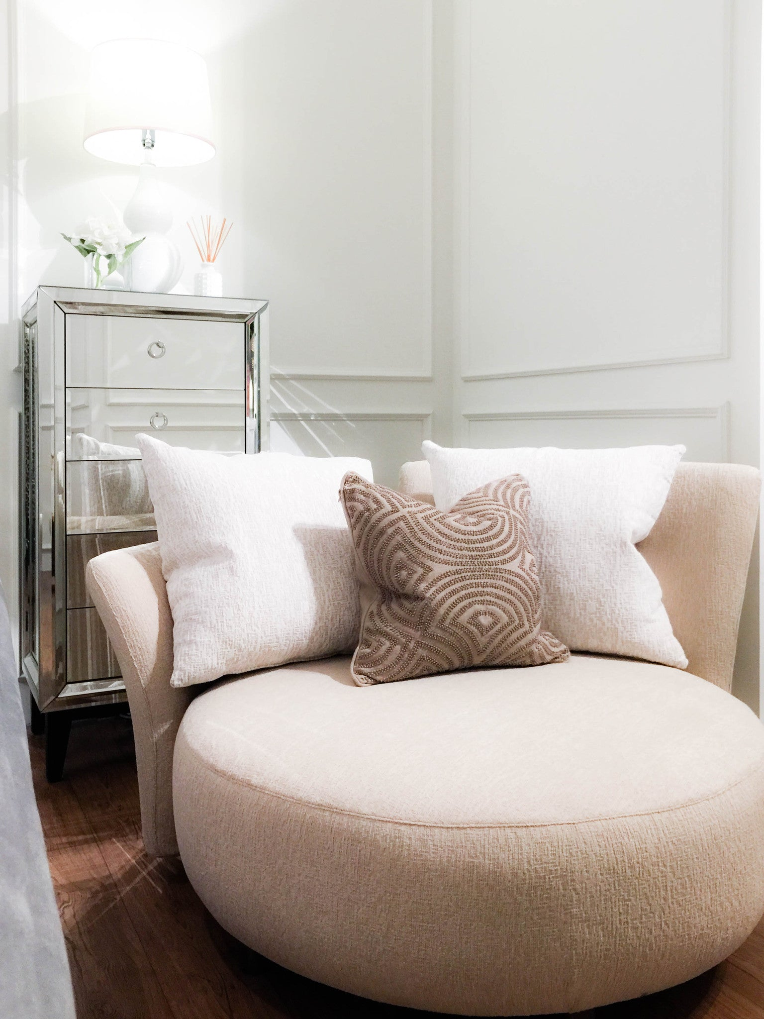 ... Round Sofa Sits Beautifully With Two Big White Cushions And Candice  Olson Beaded Cushion Next To