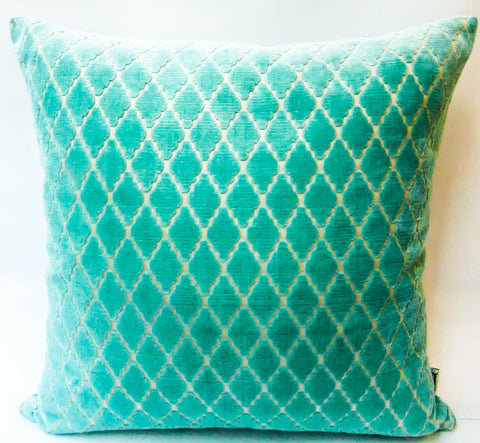 turqouise lattice cushion