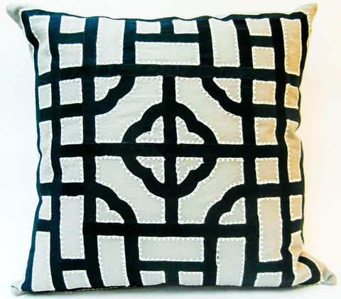 Beth Lacefield Cushion, ivory base with navy chinese symmetry pattern