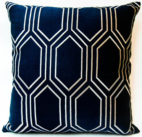 embroidered geometric pattern cushion