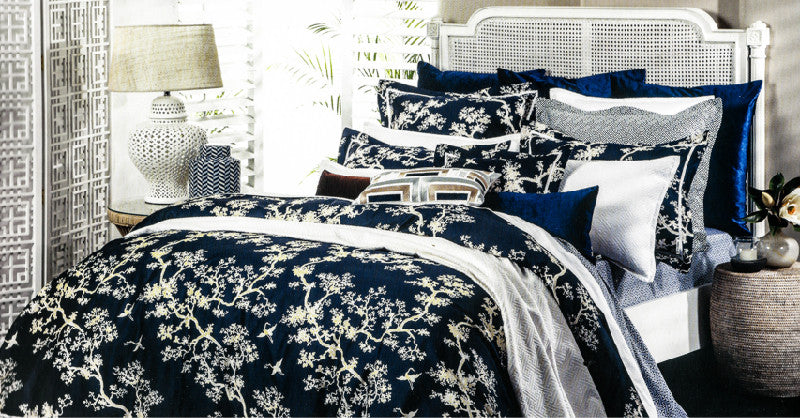 Florence Broadhurst Collection - Navy Cranes Cotton Sateen King Duvet Set
