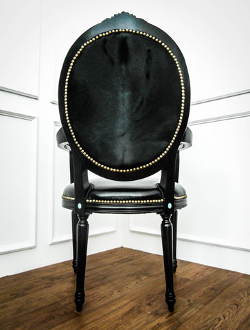 Black Dining Chair, King Louis XVI Black Knight Armchair is displayed in modern baroque style furniture store in Singapore.