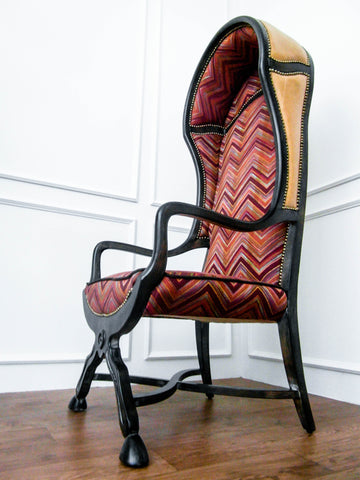 Luxury armchair at its best, this vintage Italian leather Bonnet chair uses playful colors of Missoni-inspired chevron design fabric made in Netherlands. It is now available in Singapore online furniture store at a great price.