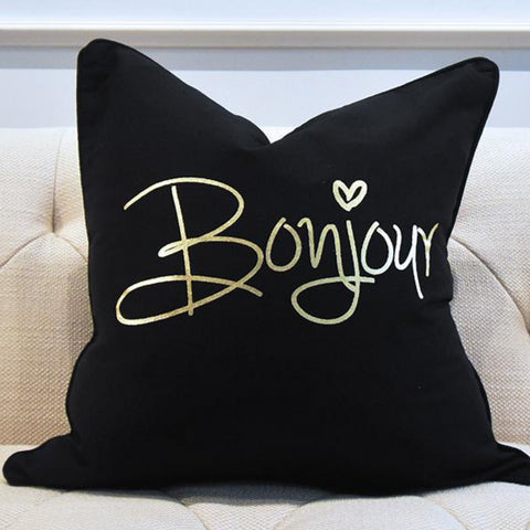 Black Cushion in Gold Wordings and Greetings