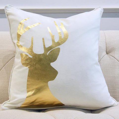 Christmas Gold Antler Cushion