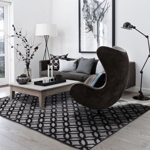 Home Inspiration using Modern Tessellation Black Grey Rug from Finn Avenue