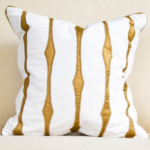 Candice Olson Collection: White-Gold Stardust Cotton Velvet Down Feather Cushion