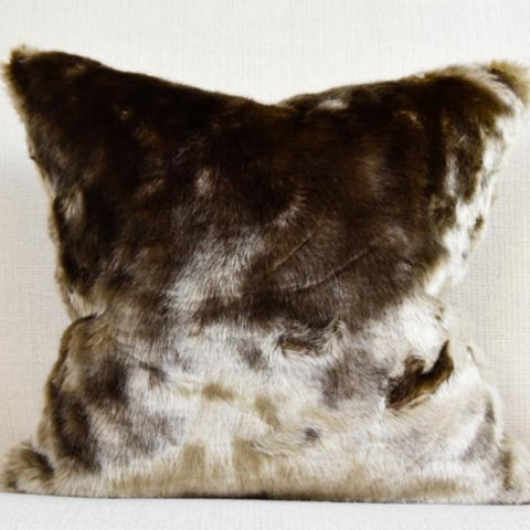 Brown-Gold Fur Cotton Down Feather Cushion