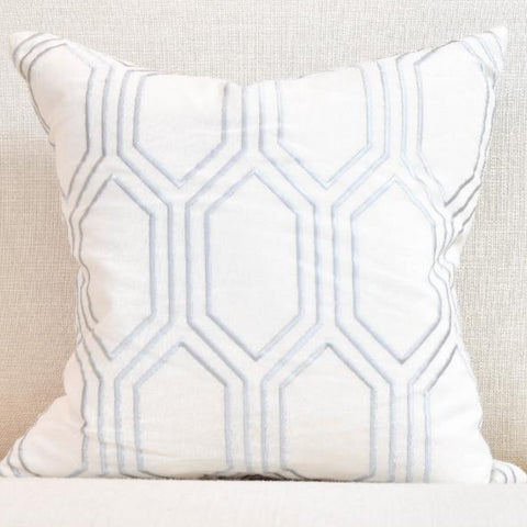 White-Silver Linen Down Feather Cushion - Medieval