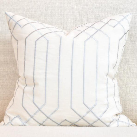 White-Silver Linen Down Feather Cushion-Modern